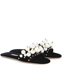 Miu Miu Exclusive To Mytheresa.Com Embellished Velvet Slip On Sandals Black