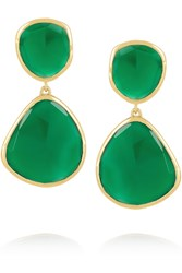 Monica Vinader Siren Gold Plated Onyx Earrings Green