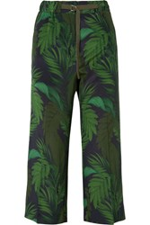 Moncler Cropped Printed Silk Straight Leg Pants Green