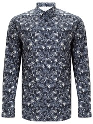 Selected Homme Fall Allover Print Slim Fit Shirt Ombre Blue