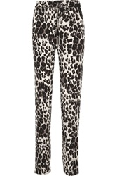 Diane Von Furstenberg Benett Two Leopard Print Stretch Silk Straight Leg Pants Animal Print