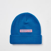 River Island Be Inclusive Blue 'Identity' Beanie Hat