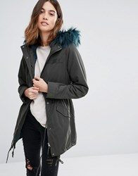 Only Soft Touch Parka Coat With Borg Lining Peat Green