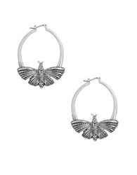 Lucky Brand Turquoise Natives Pave Butterfly Hoop Earrings Silver