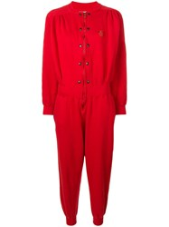 Valentino Vintage Logo Patch Boiler Suit Red
