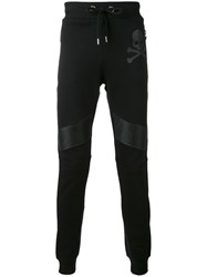Philipp Plein Leather Biker Patch Track Pants Men Cotton Leather Polyester Polyurethane L Black