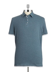 7 Diamonds Ultimate Contrast Trimmed Polo Shirt Slate Blue