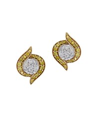 Effy Canare Diamond 14K Yellow And White Gold Stud Earrings 0.49Tcw