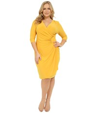 Kiyonna Ciara Cinch Dress Amber Yellow Women's Dress