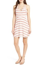 Lush Women's Cross Front Fit And Flare Dress Cream Red Stripes