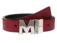 Mcm Claus Reversible Silver Buckle Belt Ruby Red