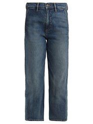 Vince Straight Leg Stretch Denim Cropped Jeans Blue