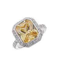 Michela Pave Accented Solitaire Ring Yellow Silver