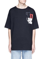 Facetasm Relaxed Fit Letter Patchwork Print T Shirt Black