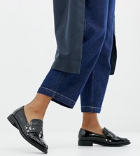 London Rebel Wide Fit Clean Loafers Black Patent