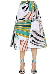 Emilio Pucci Embroidered Printed Cotton Poplin Skirt