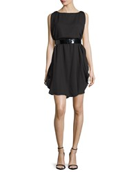 Halston Sleeveless Two Tone Belted Dress Black Champagne