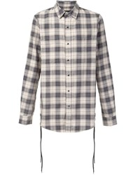 Amiri Lace Detail Plaid Shirt Nude Neutrals