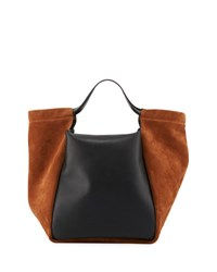 Givenchy Real Smooth Leather And Suede Tote Bag Brown Black Brown Black