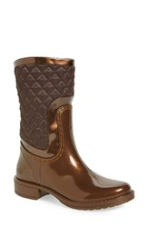 Posh Wellies Women's 'Cinnabar' Rain Boot Bronze Fabric
