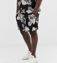 New Look Plus Co Ord Shorts With Leaf Print In Black