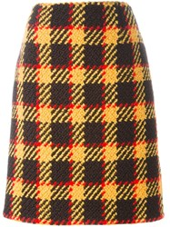 Marni Plaid A Line Skirt Yellow And Orange