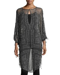 Haute Hippie The Rhiannon Silk Embellished Tunic Gray Multi