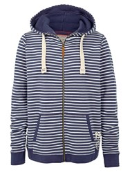 Fat Face Club Striped Zip Through Hoodie Navy