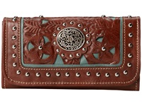 American West Lady Lace Tri Fold Wallet Brown Turquoise Handbags