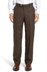 Berle Men's Flat Front Solid Wool Trousers Brown