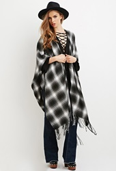 Forever 21 Fringed Plaid Shawl Poncho Black Grey
