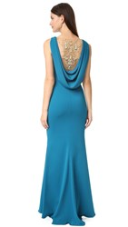 Marchesa Crepe Gown With Cowl Back And Embroidered Back Insert Teal