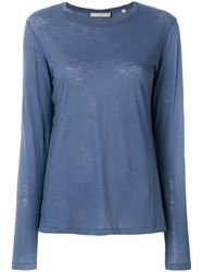 Vince Classic Fitted Sweater Women Cotton L Blue
