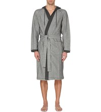 Hugo Boss Terry Hooded Cotton Blend Robe Grey