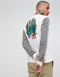 Analog Rockaway Long Sleeve Top Back Print Check Sleeve In White Stout White