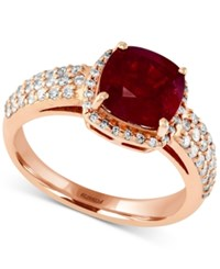 Effy Collection Rosa By Effy Ruby 3 1 8 Ct. T.W. And Diamond 1 2 Ct. T.W. Ring In 14K Rose Gold