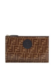 Fendi Medium Ffreedom Envelope Clutch Brown