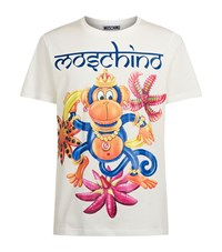Moschino Indian Monkey Print T Shirt Male Ivory
