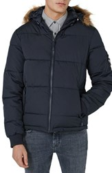 Topman 'S Maguire Hooded Puffer Coat With Faux Fur Trim Navy Blue