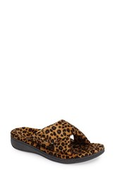 Vionic Women's Indulge Relax Slipper Tan Leopard Fabric