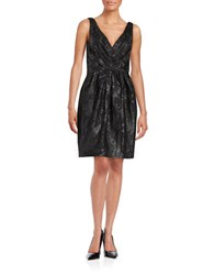 Vera Wang Floral Fit And Flare Dress Black
