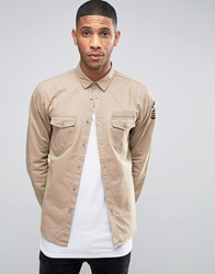 Brave Soul Military Badged Shirt Jacket Stone
