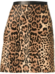 Ralph Lauren Black Leopard Print Skirt Brown
