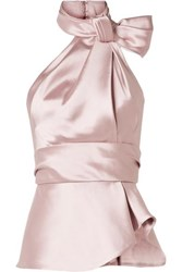 Brandon Maxwell Bow Embellished Satin Twill Halterneck Top Blush