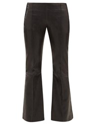 The Row Cabet Leather Kick Flare Trousers Black