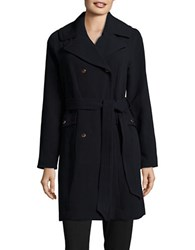 Eliza J Solid Double Breasted Trench Coat Navy