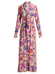 Natasha Zinko Floral Print Silk Dress Pink Multi