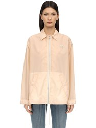 Courreges Logo Nylon And Silk Windbreaker Beige