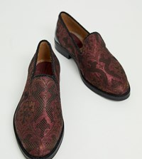 House Of Hounds Wide Fit Styx Loafers In Plum Broacade Purple
