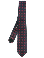 Alexander Mcqueen Embroidered Tie Blue